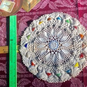 Boho Hippie RARE Crocheted Beaded Doily